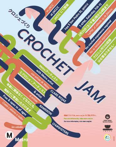Three-language poster for a Metro Art event. Image of crocheting.