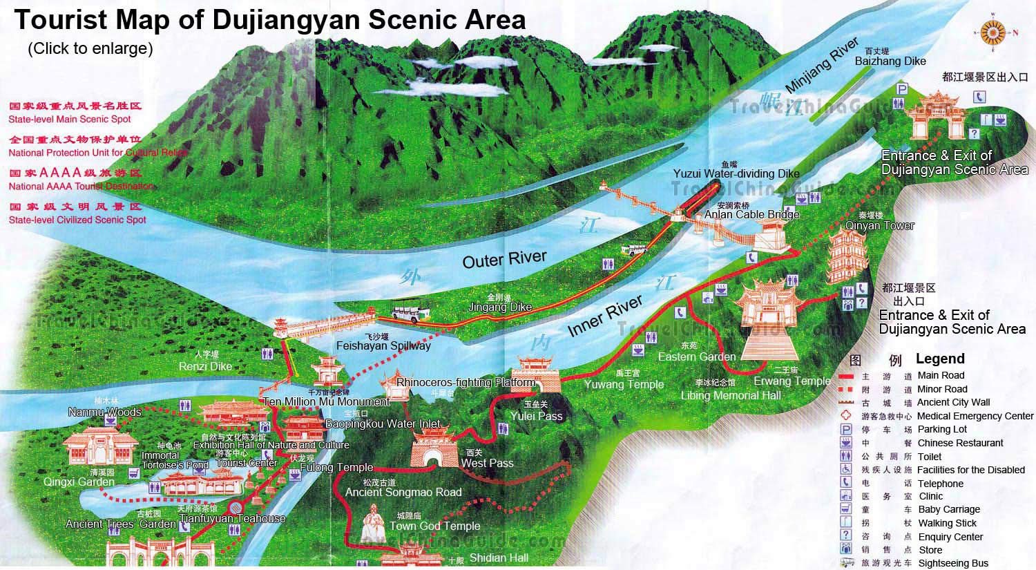 map of Dujianyan site