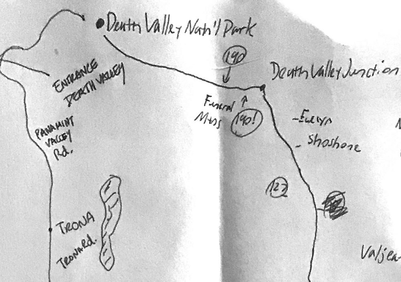 Paper map of our itinerary. There is no cell phone signal in the park.