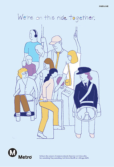 Illustration of riders on a bus.