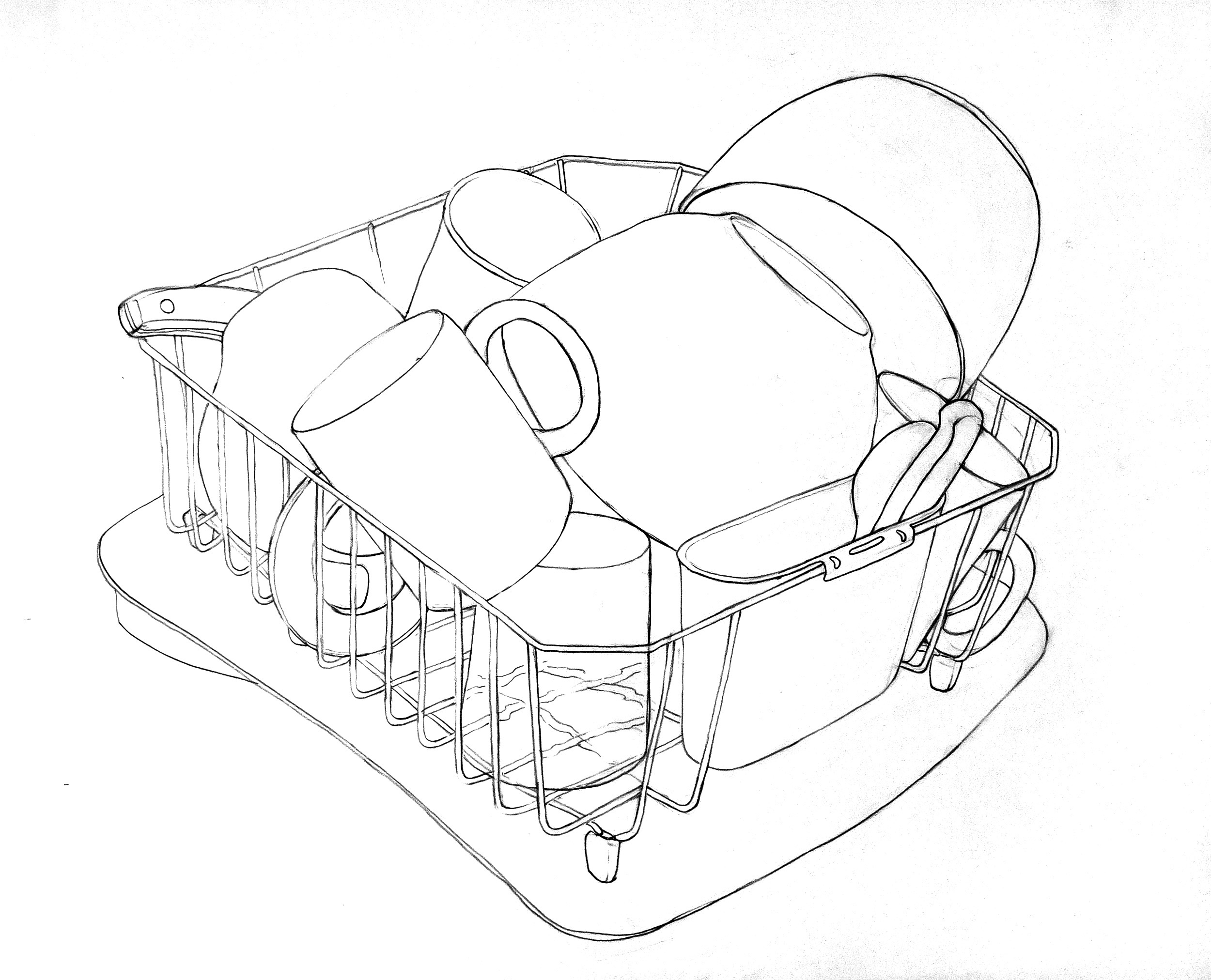 Line drawing of dishes in a rack.