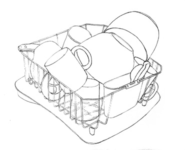 Pencil outline drawing of dishes in a dishrack