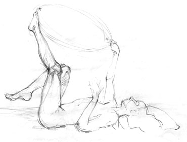 Pencil sketch of reclined woman