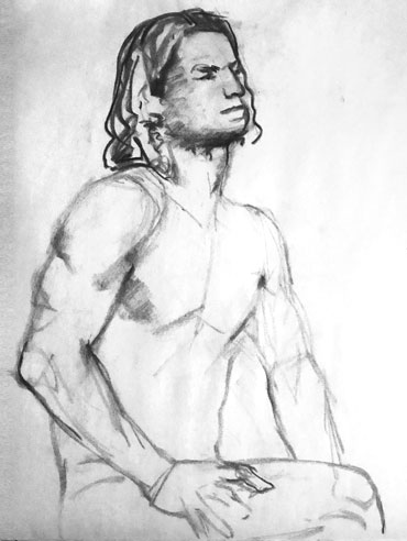 Charcoal sketch of sitting man