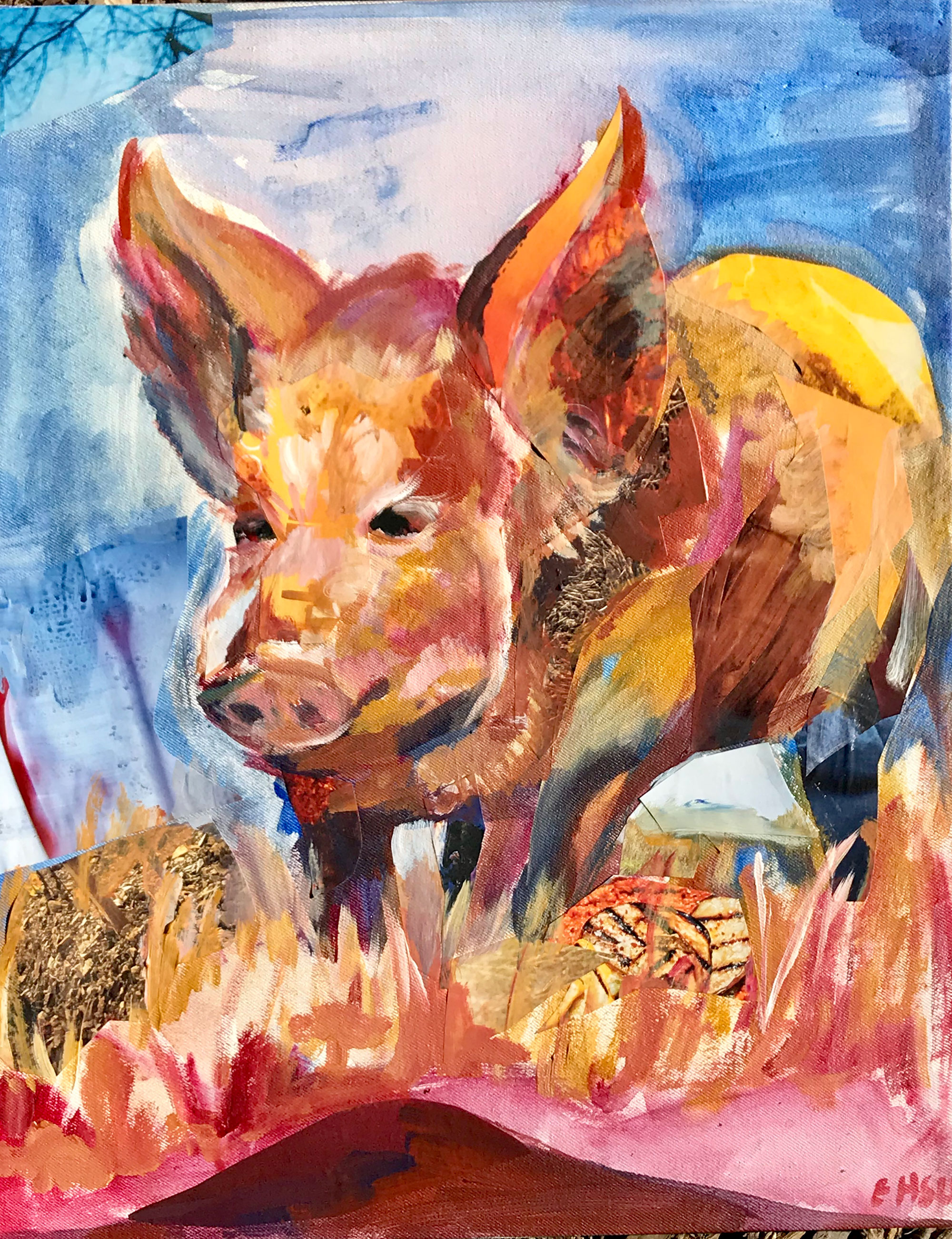 Painting and collage of pig.