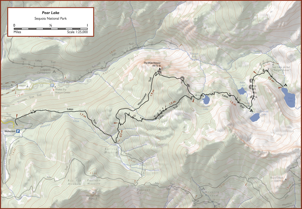 Topo map of Lakes Trail